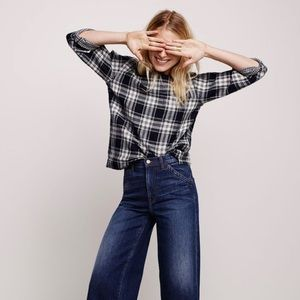 MADEWELL Herald Tee in Gray Curtis Plaid